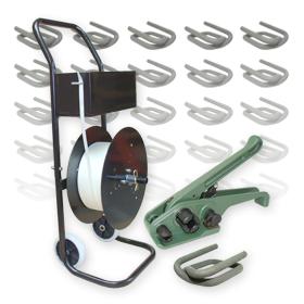 19 mm Textil gewebt HD Umreifung Set Umreifungsband Abroller Bandspanner Klemmen